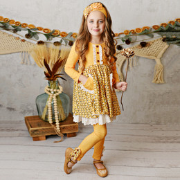 Serendipity Clothing Harvest Fields 3pc Butterscotch Bloom Pocket Dress, Dot Legging, & Headband