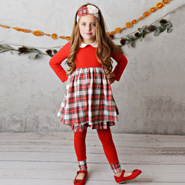 Serendipity Clothing    Winter Enchantment 3pc Plaid Dress, Legging, & Headband