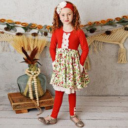 Serendipity Clothing    Winter Enchantment 3pc Holly Frill Pocket Dress, Legging, & Headband