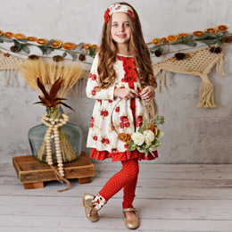 Serendipity Clothing    Winter Enchantment 3pc Rose Dress, Dot Legging, & Headband