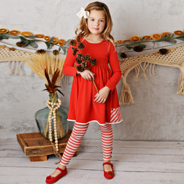 Serendipity Clothing    2pc Pocket Tunic Dress & Stripe Legging - Red