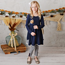 Serendipity Clothing    2pc Pocket Tunic Dress & Stripe Legging - Navy