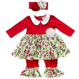 Serendipity Clothing    Winter Enchantment 2pc Holly Skirted Longall & Headband
