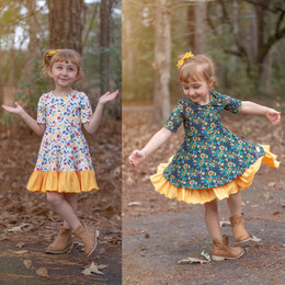 Evie's Closet    Fall20 Floral / Sunflower Reversible Knit Dress