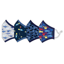 Andy & Evan 3 Layer Cotton Face Masks w/Filter Pockets - 4 PACK! - Boy Child Mix 3 (2-6 Years)