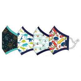Andy & Evan 3 Layer Cotton Face Masks w/Filter Pockets - 4 PACK! - Boy Child Mix 4 (2-6 Years)