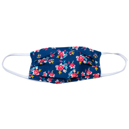 Haute Baby      Double Layer Pleated Cotton Face Mask - Navy Floral