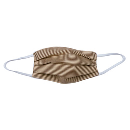 Haute Baby     Double Layer Pleated Cotton Face Mask - Brown Stripe