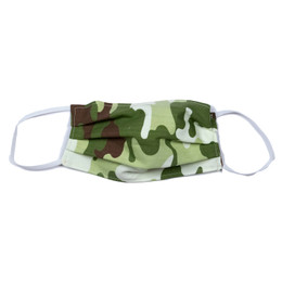 Haute Baby     Double Layer Pleated Cotton Face Mask - Green Camo