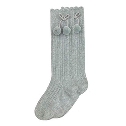 Jefferies Socks Rib Pom Pom Knee High Socks - Grey