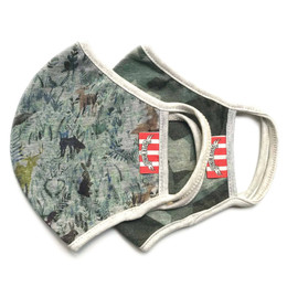 Paper Wings             Double Layer Organic Cotton Jersey Face Masks - 2 Pack! - Watercolour Forest & Green Camo - Tweens / Adults (8 years & up)