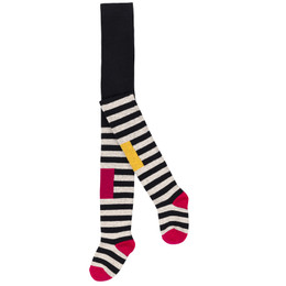 Deux Par Deux Corgi Love Striped Tights - Multi