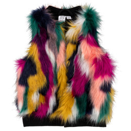 Deux Par Deux    Corgi Love Faux Fur Vest - Multi