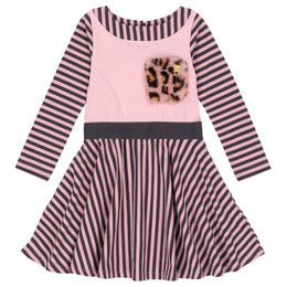 Deux Par Deux    Catmouflage Organic Cotton Striped Dress w/Faux Fur Pocket - Pink/Grey