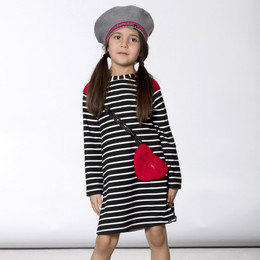 Deux Par Deux    I Love Paris Striped French Terry Dress w/Heart Purse Accent - Black/White