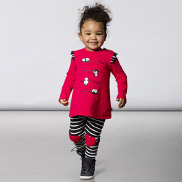 Deux Par Deux    I Love Paris 2pc Printed Tunic & Striped Fleece Legging Set - Red/Black