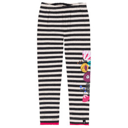 Deux Par Deux    Corgi Love Organic Cotton Leggings - Black Stripes /wFlowers