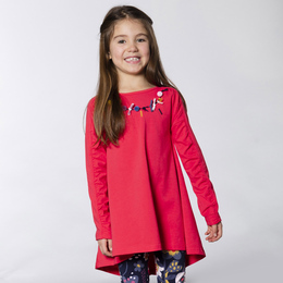Deux Par Deux Koala Story Organic Cotton Embroidered Tunic - Hibiscus