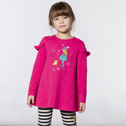 Deux Par Deux    Corgi Love Organic Cotton Printed Tunic - Bright Rose