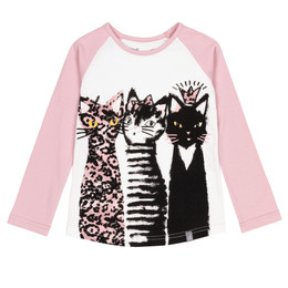 Deux Par Deux    Catmouflage Organic Cotton Purrfect Friends Top -  Pink
