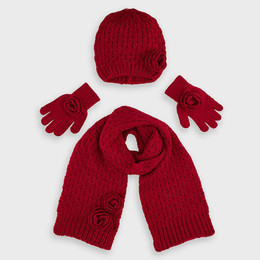 Mayoral    4pc Hat, Scarf, & Gloves Set - Carmine Red