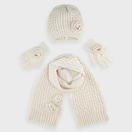 Mayoral    4pc Hat, Scarf, & Gloves Set - Beige