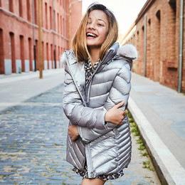 Mayoral    Puffer Coat w/Removable Hood w/Faux Fur Trim - Silver Smoke