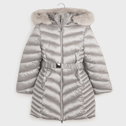 Mayoral    Belted & Hooded Puffer Coat w/Faux Fur Trim - Silver Smoke