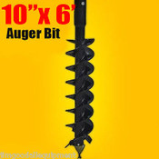 """10""""x 6' Auger Bit HDC 2"""" Hex, For Difficult Digging Conditions, Made In the USA"""