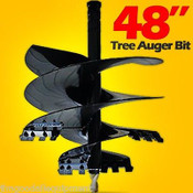 "48"" Tree Auger Bit For Skid Steer Augers, Fits 2"" Hex Auger Drive"
