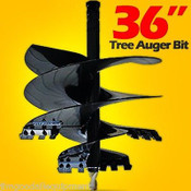 "36""x4' McMillen Skid Steer Tree Auger Bits 2.5"" Round Drive, 13 Teeth"