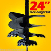"24"" Tree Auger Bit for Skid Steer Loaders, Fits All 2.56"" Round Auger Drives"