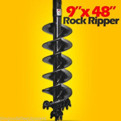 "9""x 48"" Rock Ripper Auger Bit for Skid Steers, 2"" Hex Drive, Extreme Duty, Digs Rock & Frozen Dirt"