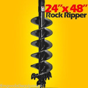 "24""x48"" Rock Ripper Auger Bit For Skid Steers w/ 2"" Hex Drive, Digs Rock & Frozen Dirt"
