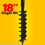 "18"" x 48"" Auger Bit for Post Hole Auger 2.5"" Round Drive, For Skid Steer Loaders"