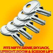 Nifty Boom Lift Key,Set of Five,Also fits Genie,Skyjack,Upright,Boom & Scissors