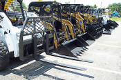 "48"" Bradco Heavy Duty Pallet Forks for Skid Steer Loaders, Large Step, Chain Hook, High Back"
