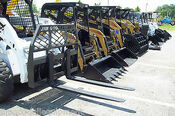 "48"" Bradco Heavy Duty Pallet Forks for Skid Steer Loaders, Large Step, Chain Hook, High Back"