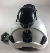 White Tree Climbers Safety Helmet, 6 Pt Ratchet Suspension, Meet ANSI, With Ear Muffs