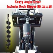 "Skid Steer Auger Drive by McMillen X1975 All Gear Drive, w/ 24"" Rock Ripper Bit"