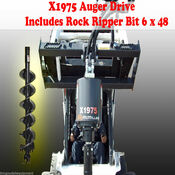 "Skid Steer Auger Drive by McMillen X1975 All Gear Drive, w/ 6"" Rock Ripper Bit"