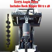 "Skid Steer Auger Drive by McMillen X1975 All Gear Drive, w/ 9"" Rock Ripper Bit"