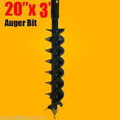 "20""x 3' Auger Bit HDC 2"" Hex, For Difficult Digging Conditions, Made in the USA"