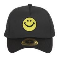 Smiley Face Black Adjustable Trucker Hat