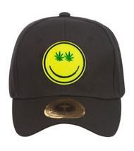 Marijuana Smiley Face Black Adjustable Baseball Cap