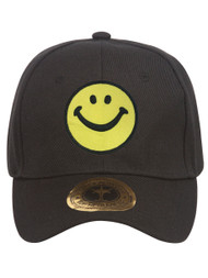 Smiley Face Black Adjustable Baseball Cap