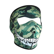 Neoprene Woodland Camo Print with Teeth Design Face Mask (Multicolor, One Size)