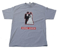 Game Over Wedding Video Game Character Cotton T-Shirt - Grey