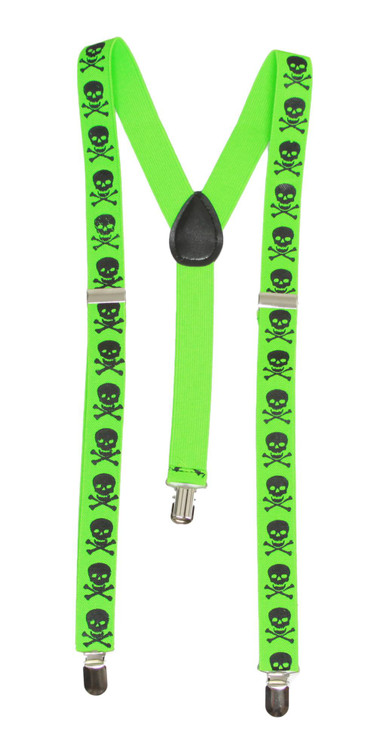 Skull Death 3 Clip Stretchable Suspenders - Green