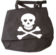 Skull Print Messenger Bag - Black